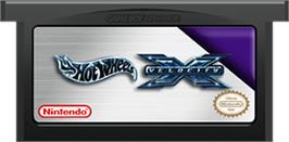 Cartridge artwork for Hot Wheels: Velocity X on the Nintendo Game Boy Advance.
