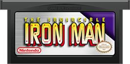 Cartridge artwork for Invincible Iron Man on the Nintendo Game Boy Advance.