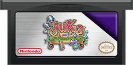Cartridge artwork for Juka and the Monophonic Menace on the Nintendo Game Boy Advance.