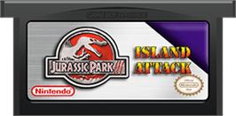 Cartridge artwork for Jurassic Park III: Island Attack on the Nintendo Game Boy Advance.
