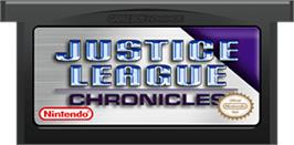 Cartridge artwork for Justice League: Chronicles on the Nintendo Game Boy Advance.