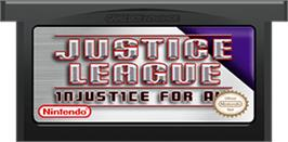 Cartridge artwork for Justice League: Injustice for All on the Nintendo Game Boy Advance.