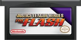 Cartridge artwork for Justice League Heroes: The Flash on the Nintendo Game Boy Advance.