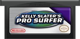 Cartridge artwork for Kelly Slater's Pro Surfer on the Nintendo Game Boy Advance.