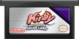 Cartridge artwork for Kirby: Nightmare in Dreamland on the Nintendo Game Boy Advance.