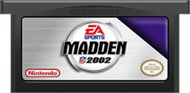 Cartridge artwork for Madden NFL 2002 on the Nintendo Game Boy Advance.