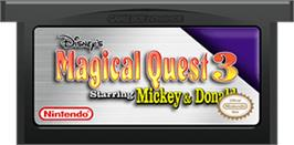 Cartridge artwork for Magical Quest 3 starring Mickey and Donald on the Nintendo Game Boy Advance.