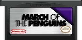 Cartridge artwork for March of the Penguins on the Nintendo Game Boy Advance.
