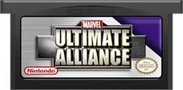 Cartridge artwork for Marvel Ultimate Alliance on the Nintendo Game Boy Advance.