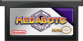 Cartridge artwork for MedaBots: Metabee Version on the Nintendo Game Boy Advance.