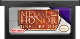 Cartridge artwork for Medal of Honor: Infiltrator on the Nintendo Game Boy Advance.