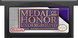 Cartridge artwork for Medal of Honor: Underground on the Nintendo Game Boy Advance.