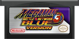 Cartridge artwork for Mega Man Battle Network 3: Blue Version on the Nintendo Game Boy Advance.