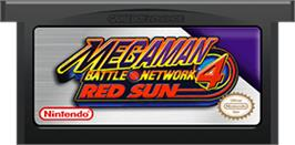 Cartridge artwork for Mega Man Battle Network 4: Red Sun on the Nintendo Game Boy Advance.