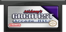 Cartridge artwork for Midway's Greatest Arcade Hits on the Nintendo Game Boy Advance.