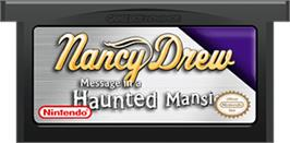 Cartridge artwork for Nancy Drew: Message in a Haunted Mansion on the Nintendo Game Boy Advance.