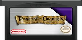 Cartridge artwork for Pirates of the Caribbean: The Curse of the Black Pearl on the Nintendo Game Boy Advance.