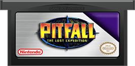Cartridge artwork for Pitfall: The Lost Expedition on the Nintendo Game Boy Advance.