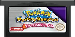 Cartridge artwork for Pokemon Mystery Dungeon: Red Rescue Team on the Nintendo Game Boy Advance.