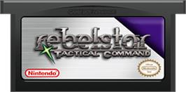 Cartridge artwork for Rebelstar: Tactical Command on the Nintendo Game Boy Advance.