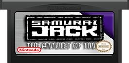 Cartridge artwork for Samurai Jack: The Amulet of Time on the Nintendo Game Boy Advance.