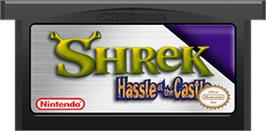 Cartridge artwork for Shrek: Hassle at the Castle on the Nintendo Game Boy Advance.