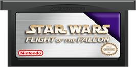 Cartridge artwork for Star Wars: Flight of the Falcon on the Nintendo Game Boy Advance.
