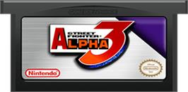 Cartridge artwork for Street Fighter Alpha 3 on the Nintendo Game Boy Advance.