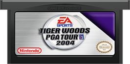 Cartridge artwork for Tiger Woods PGA Tour 2004 on the Nintendo Game Boy Advance.