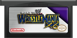 Cartridge artwork for WWE Road to Wrestlemania X8 on the Nintendo Game Boy Advance.