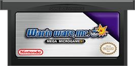 Cartridge artwork for WarioWare, Inc.: Mega Microgame$ on the Nintendo Game Boy Advance.