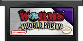 Cartridge artwork for Worms World Party on the Nintendo Game Boy Advance.