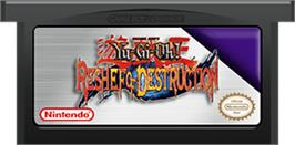 Cartridge artwork for Yu-Gi-Oh! Reshef of Destruction on the Nintendo Game Boy Advance.