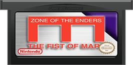 Cartridge artwork for Zone of the Enders: The Fist of Mars on the Nintendo Game Boy Advance.