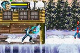 In game image of 2 in 1: Spider-Man: Mysterio's Menace & X2: Wolverine's Revenge on the Nintendo Game Boy Advance.