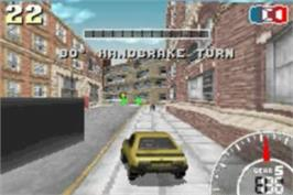 In game image of 2 in 1: V-Rally 3 & Stuntman on the Nintendo Game Boy Advance.