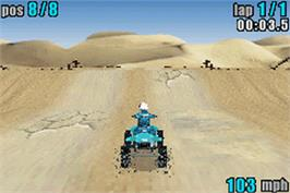 In game image of ATV: Quad Power Racing on the Nintendo Game Boy Advance.
