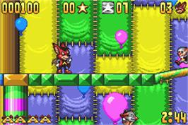 In game image of Aero the Acro-Bat: Rascal Rival Revenge on the Nintendo Game Boy Advance.