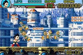 In game image of Astro Boy: Omega Factor on the Nintendo Game Boy Advance.
