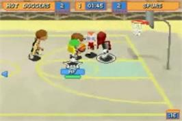 In game image of Backyard Basketball on the Nintendo Game Boy Advance.