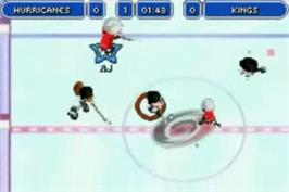 In game image of Backyard Hockey on the Nintendo Game Boy Advance.