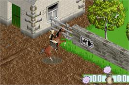 In game image of Barbie Horse Adventures: Blue Ribbon Race on the Nintendo Game Boy Advance.