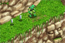 In game image of Bionicle: Maze of Shadows on the Nintendo Game Boy Advance.