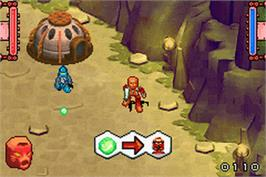 In game image of Bionicle Heroes on the Nintendo Game Boy Advance.