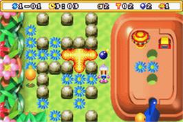 In game image of Bomberman Max 2: Blue Advance on the Nintendo Game Boy Advance.