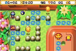 In game image of Bomberman Max 2: Red Advance on the Nintendo Game Boy Advance.