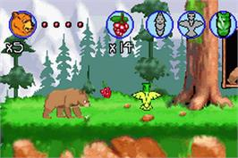 In game image of Brother Bear on the Nintendo Game Boy Advance.