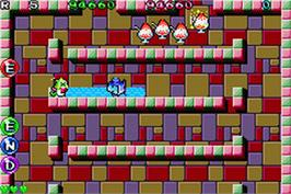 In game image of Bubble Bobble Old & New on the Nintendo Game Boy Advance.
