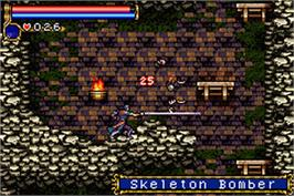 In game image of Castlevania: Aria of Sorrow on the Nintendo Game Boy Advance.