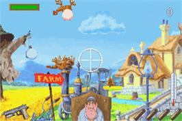 In game image of Chicken Shoot on the Nintendo Game Boy Advance.